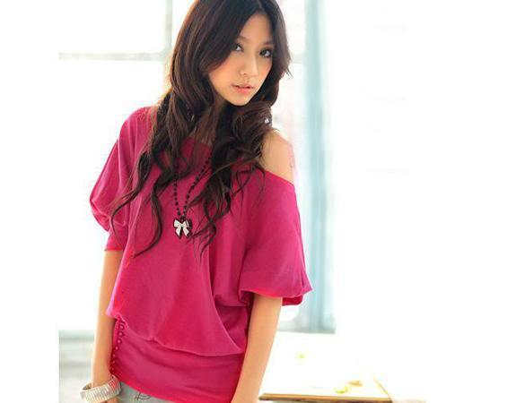 Women OFF-Shoulder Cotton Blends Top T-Shirt Buttons Blouse 2