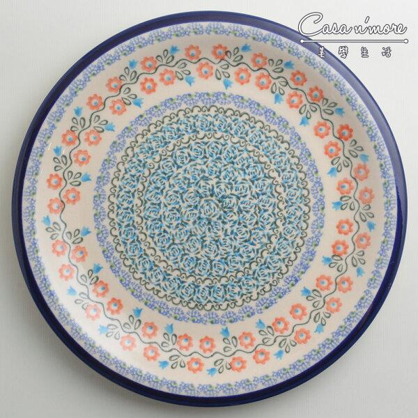 波蘭陶紅花綠蔓系列圓形餐盤陶瓷盤菜盤點心盤圓盤沙拉盤27cm波蘭手工製
