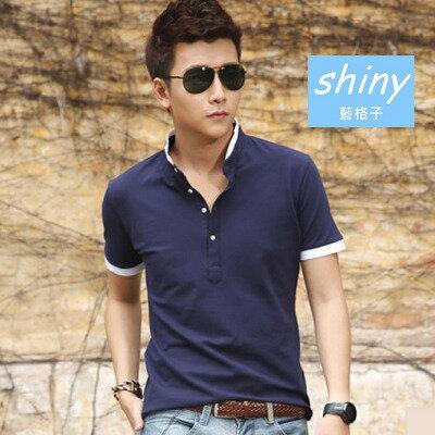 shiny藍格子:全店滿600折50【Y082】shiny藍格子-帥氣百搭.夏季韓版翻領短袖POLO衫