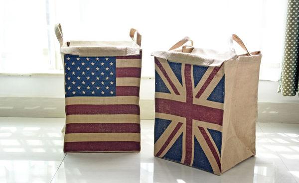 居家收納國旗黃麻收納袋帶蓋方形收黃麻袋可折疊雜物桶棉麻髒衣桶單售