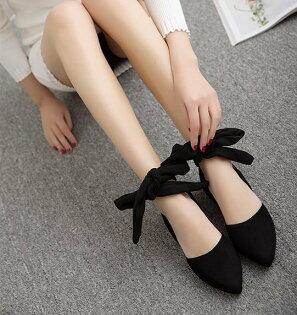 Pyf♥百搭絨面包頭拖鞋後空交叉綁帶舒適簍空尖頭涼鞋43大尺碼女鞋