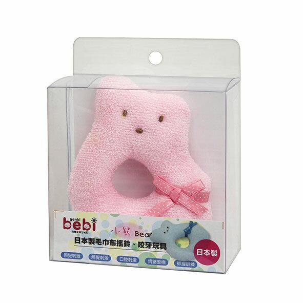 AKACHAN阿卡將:genkibebi元氣寶寶小熊毛巾布搖鈴