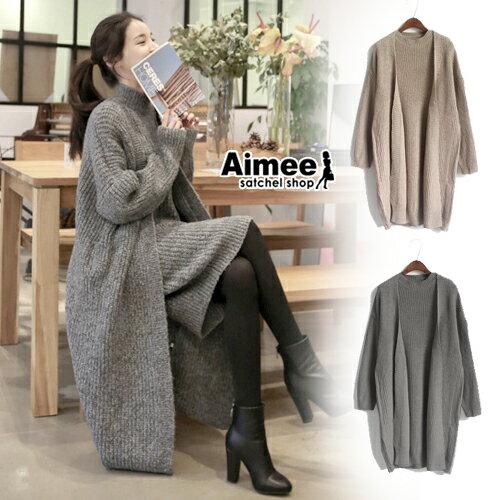 ~ ~~Aimee~ ‧百搭 美身材^~毛線針織洋裝 針織長外套大衣^~~兩件式 ~‧韓國