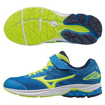 K1GC173144(藍X螢光綠)WAVE RIDER 20 Jr.V 黏貼帶式童鞋 A【美津濃MIZUNO】【品牌盛典   滿2000元結帳輸入序號『SUPERBRAND』再9折】 0