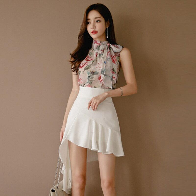 2021春夏韓版高腰顯瘦雪紡拼接不對稱修身包臀半身裙中長裙