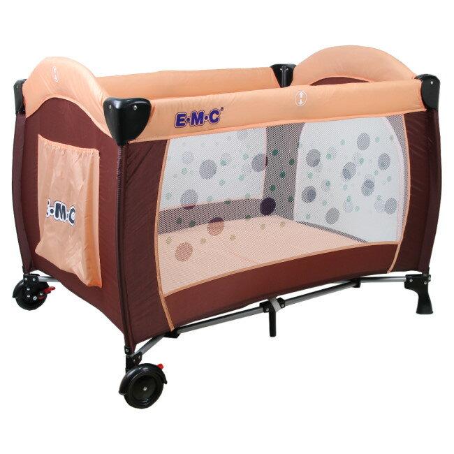EMC 嬰幼兒安全遊戲床(幸運咖啡)加雙層架及尿布台