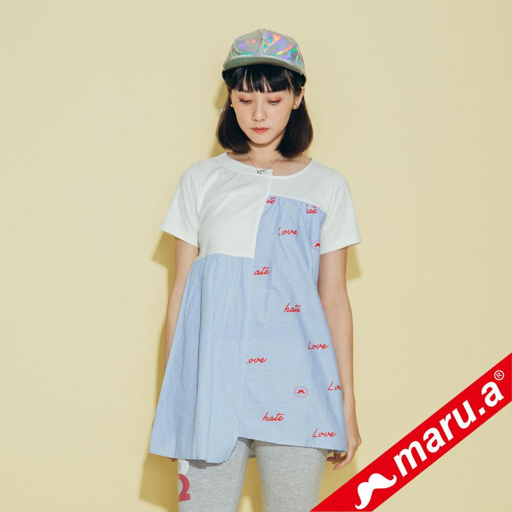 【maru.a】不對稱條紋拼接上衣 8321229 3