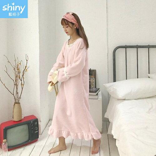 【V2249】shiny藍格子-夢幻甜美.粉系荷葉邊連身長袖居家服睡裙