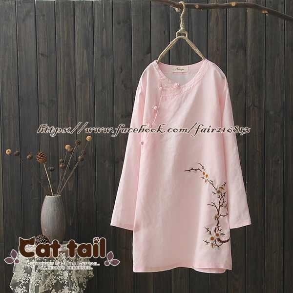 《貓尾巴》CH-01804民族風復古斜盤扣長袖連身裙(森林系日系棉麻文青清新)