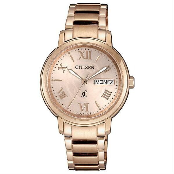 CITIZEN星辰錶EW2422-63W愛戀玫瑰典雅時尚光動能錶粉紅金面33mm