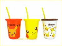 Pokemon:精靈寶可夢到asdfkitty可愛家☆寶可夢 神奇寶貝 皮卡丘3入塑膠吸管杯-320ML-紅白黃-日本製