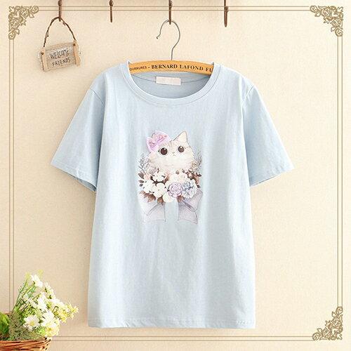 貼布蝴蝶結印花圓領短袖T恤(4色F碼)【OREAD】 3