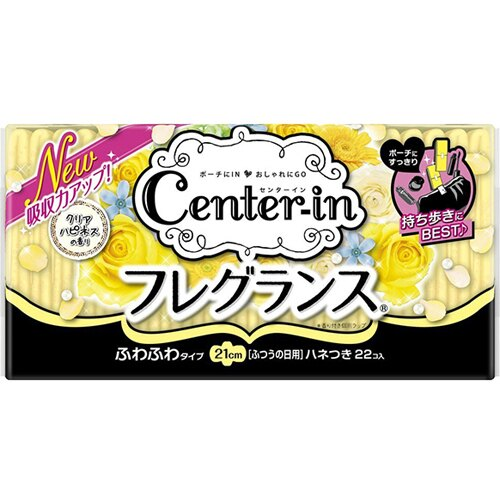 日本原裝進口 Unicharm CENTER-IN棉柔蝶翼幸福香氛衛生棉-一般日用(21cm) 22片入