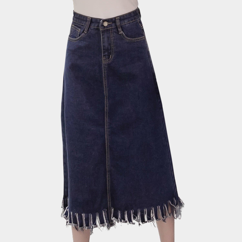 牛仔裙--波希米亞風個性鈕扣裙襬破破抽鬚口袋經典素面牛仔長裙(藍L-5L)-Q79眼圈熊中大尺碼 0