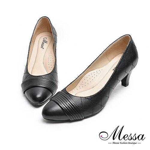 ~Messa米莎專櫃女鞋~MIT全羊皮一字 菱格縫線高跟包鞋~黑色