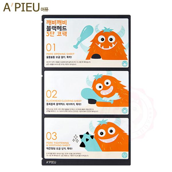 韓國 APIEU 怪獸敲敲黑頭粉刺清潔面膜三部曲(3g+0.2g+3g)【庫奇小舖】