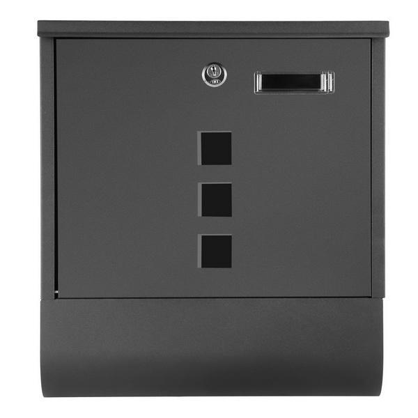 Rust Proof Powder Coated Steel Black Vertical Lockable Mailbox Wall Mount 1