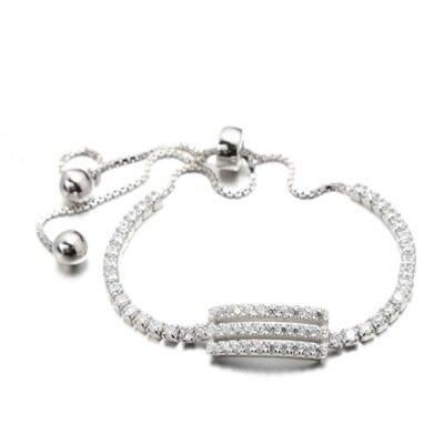 ~925純銀手鍊 鑲鑽手環~ 奢華清新百搭情人節生日 女飾品73dl57~ ~~米蘭 ~