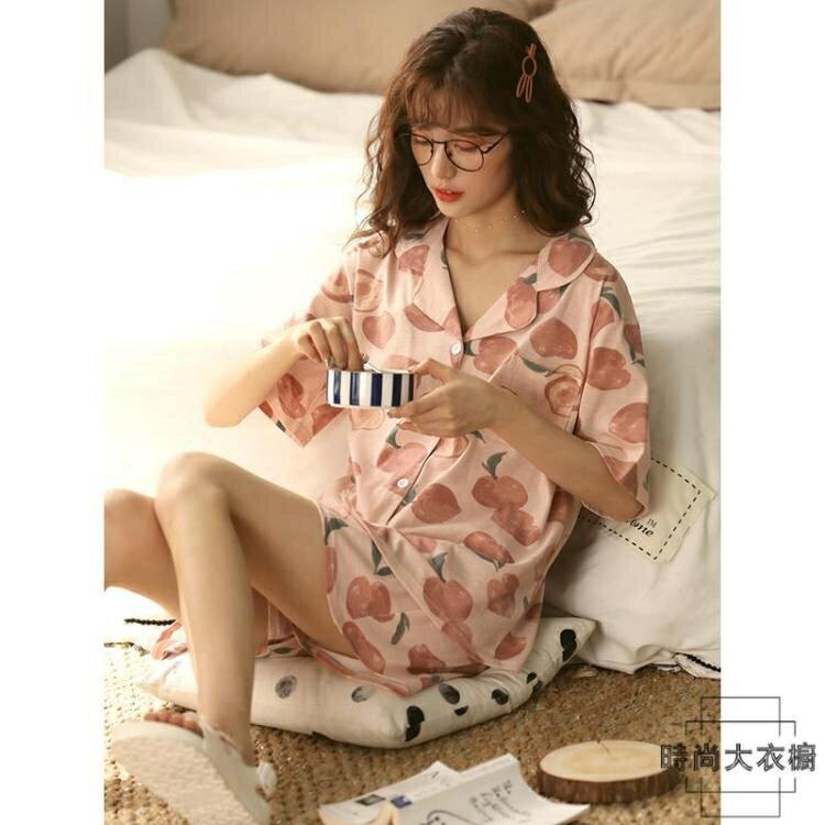 【免運】睡衣女夏季薄款純棉短袖可愛兩件套裝居家服