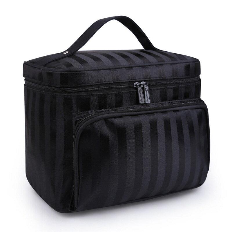 韓版大號花紋手提化妝包可折疊防水條紋-黑色