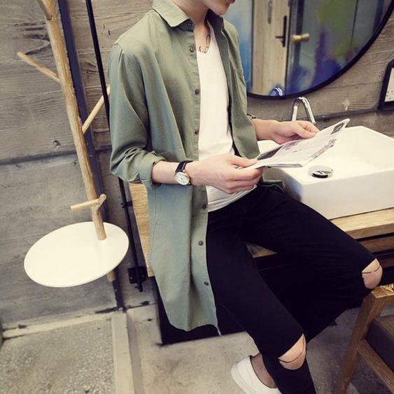 中長款風衣 春季男式中長款亞麻襯衫外套英倫青年修身型棉麻薄風衣夏天防曬衣