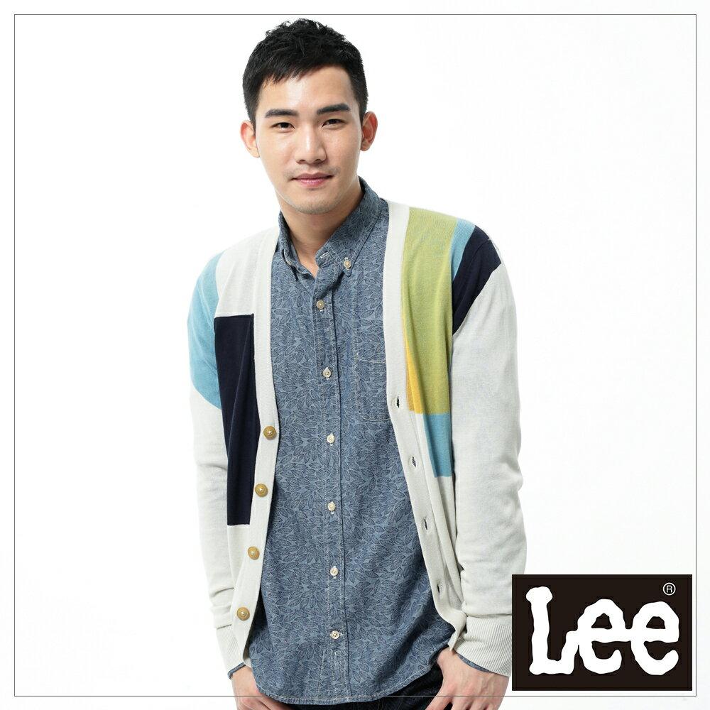 【單一價↘899】Lee 長袖針織外套 不規則色塊前開扣 -男款(米)