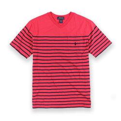 美國百分百【Ralph Lauren】T恤 V領 RL 短袖 T-shirt Polo 小馬 條紋 紅/深藍XS號 青年版 I093