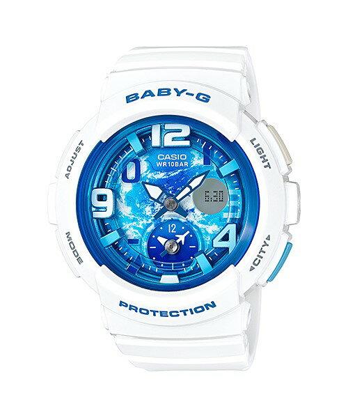 CASIO 卡西歐 海灘旅行系列深邃夜空兩地時間休閒錶 白 藍 女錶 BGA~190GL~