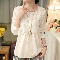 蕾絲刺繡鏤空精緻鉤花朵純棉娃娃衫 (白色,M~2XL) - ORead 自由風格 現貨-OREAD-自由風格-女裝特惠商品