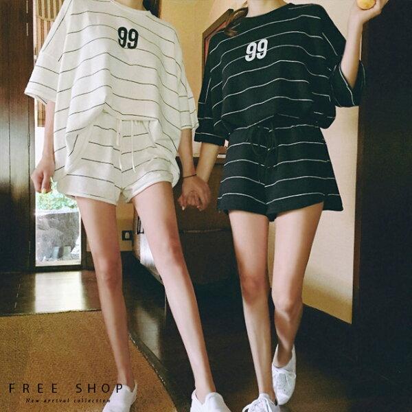 FreeShop夏季清新印花純棉居家套服短袖上衣+短褲寬鬆休閒運動兩件式套裝超甜美睡衣【QCCDB1087】