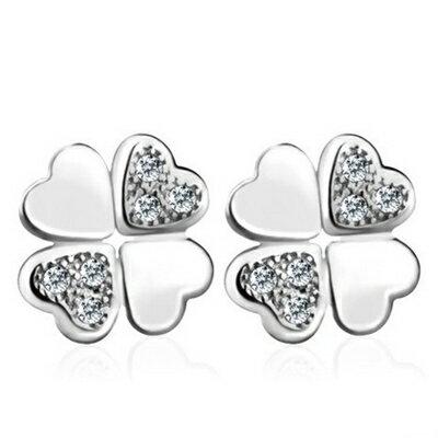 925純銀耳環鑲鑽耳飾~ 四葉草 生日情人節 女飾品73dy125~ ~~米蘭 ~