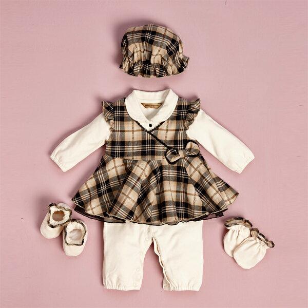 【金安德森】寶寶禮盒 - 甜美蝴蝶結背心裙+兔裝(卡色) (彌月禮盒)