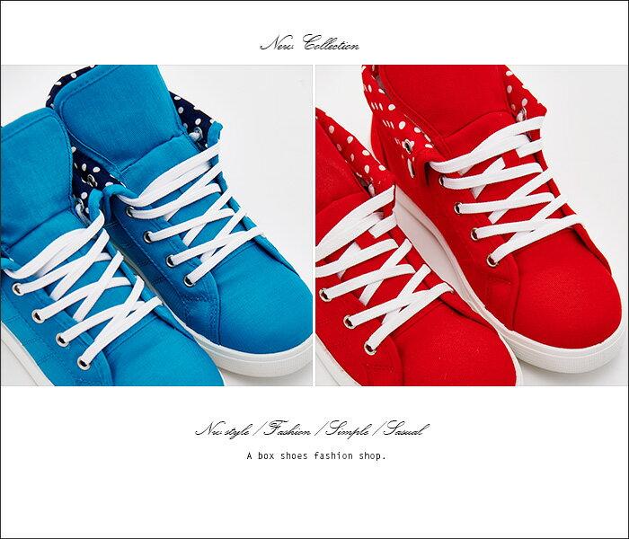 格子舖*【KBP-1030】MIT台灣製 布面材質 可愛反摺點點 綁帶高筒休閒運動鞋 布面休閒鞋 3色 2