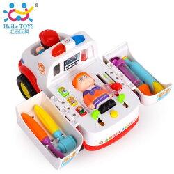HUILE匯樂 聲光電動益智全能萬向救護車 匯樂 聲光電動救護車 玩具音樂