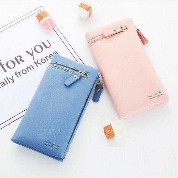 【現貨+預購】長夾韓版純色搭扣多卡位錢包皮夾手拿包NO.JY1501-1