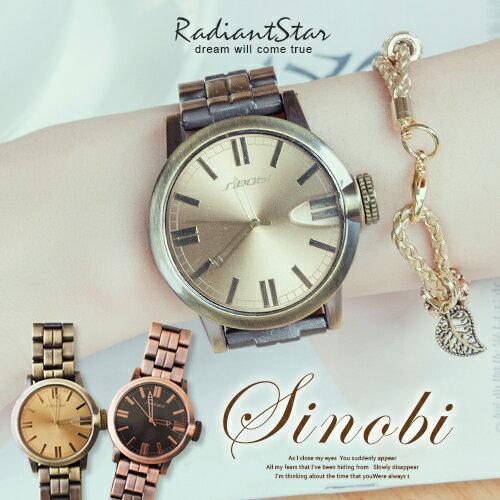 香港SINOBI懷舊眺望古銅大錶面金屬鍊帶手錶對錶~WSI9471G~璀璨之星~ ~  好