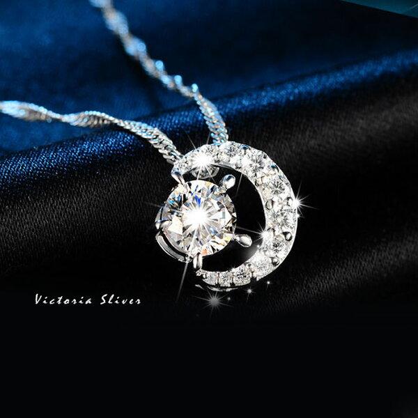 S925銀怦然星動鋯石項鍊-維多利亞180523