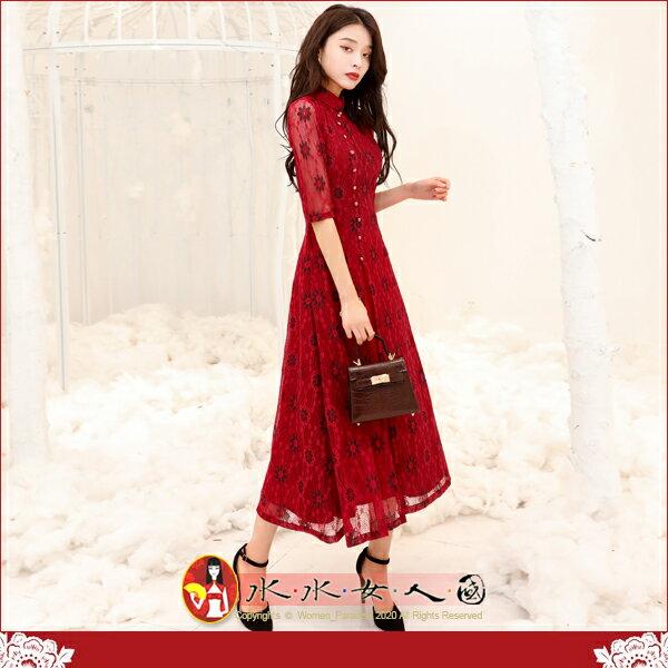 【水水女人國】~優雅浪漫旗袍風~染紅。復古典雅繡線花朵蕾絲改良式時尚日常修身顯瘦七分袖寬擺裙長旗袍洋裝
