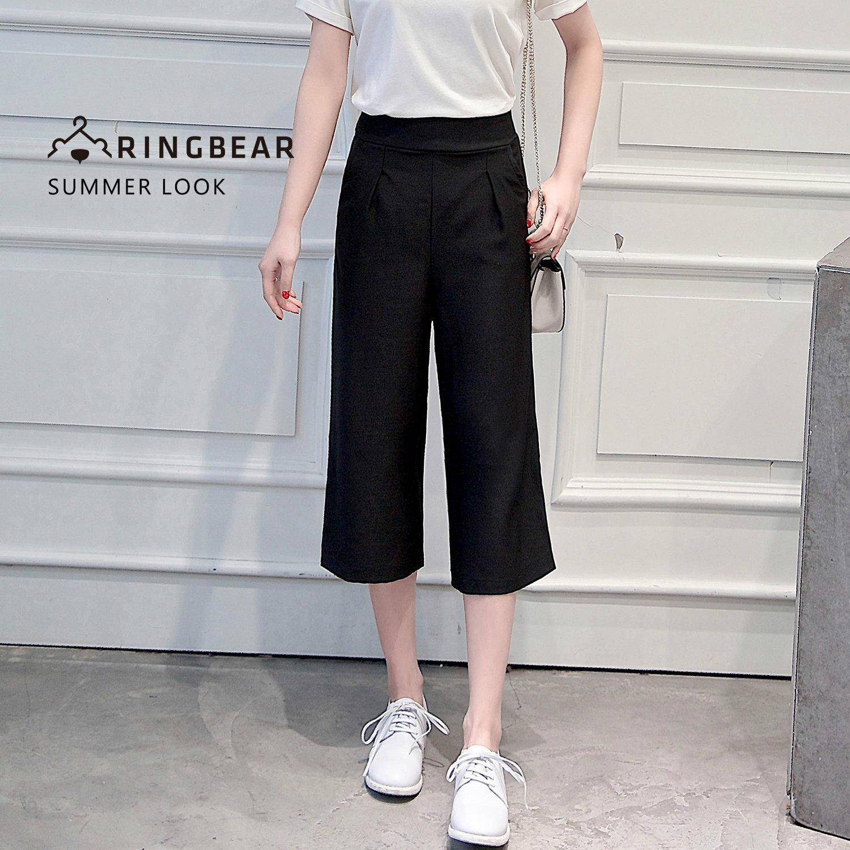 雪紡寬褲--韓風質感時尚中厚雪紡前口袋設計七分寬口褲(黑XL-4L)-P129眼圈熊中大尺碼 0