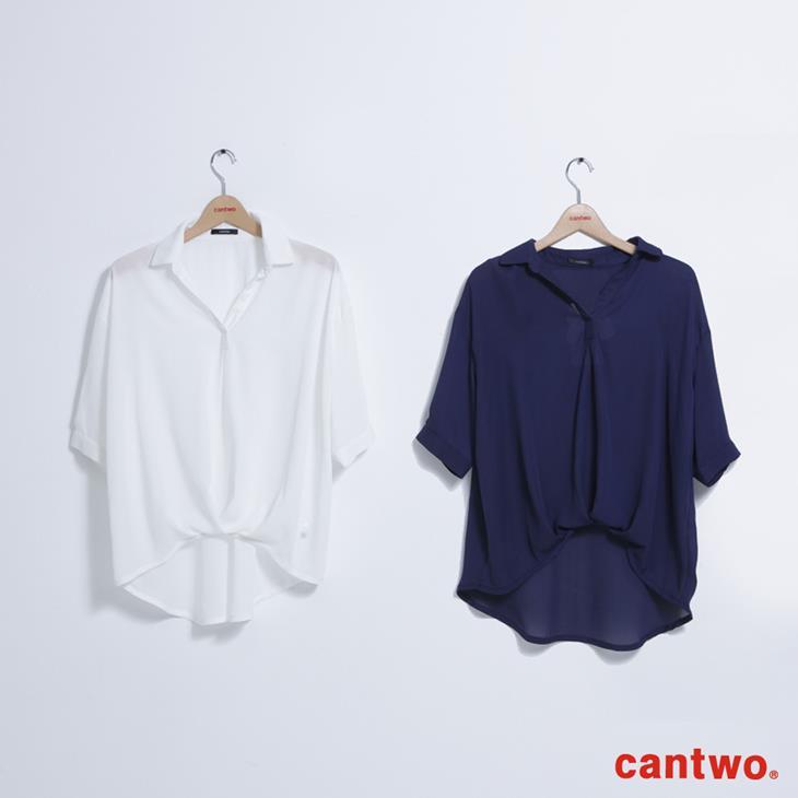 cantwo弧襬五分袖雪紡襯衫(共三色) 6