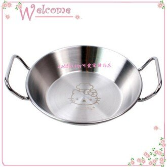 asdfkitty可愛家☆KITTY雙耳304不鏽鋼小鍋/餐盤-可當烤盤.蒸盤-進烤箱.水波爐 電鍋-韓國製