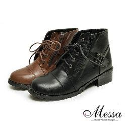 【Messa米莎專櫃女鞋】MIT韓風中性皮帶造型低跟短靴-二色