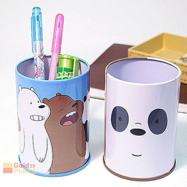 BO雜貨【SV8287】熊熊遇見你_筆筒大大胖達阿極大集合文具收納桶圓筆筒收納罐收納筒鐵製筆筒