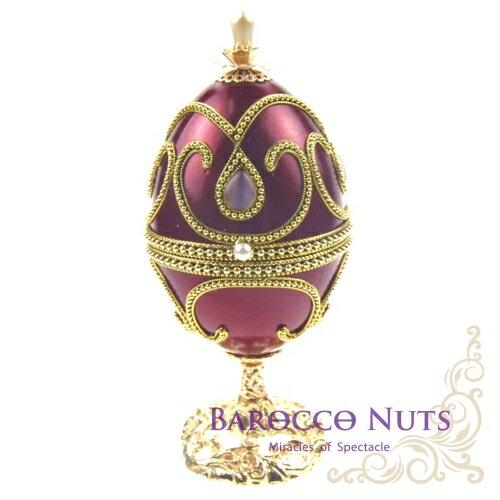 【Barocco Nuts】[音樂盒Music Box]蛋雕系列:酒紅色金珠邊水滴貓眼石圓底柱音樂盒(聖誕節/X\