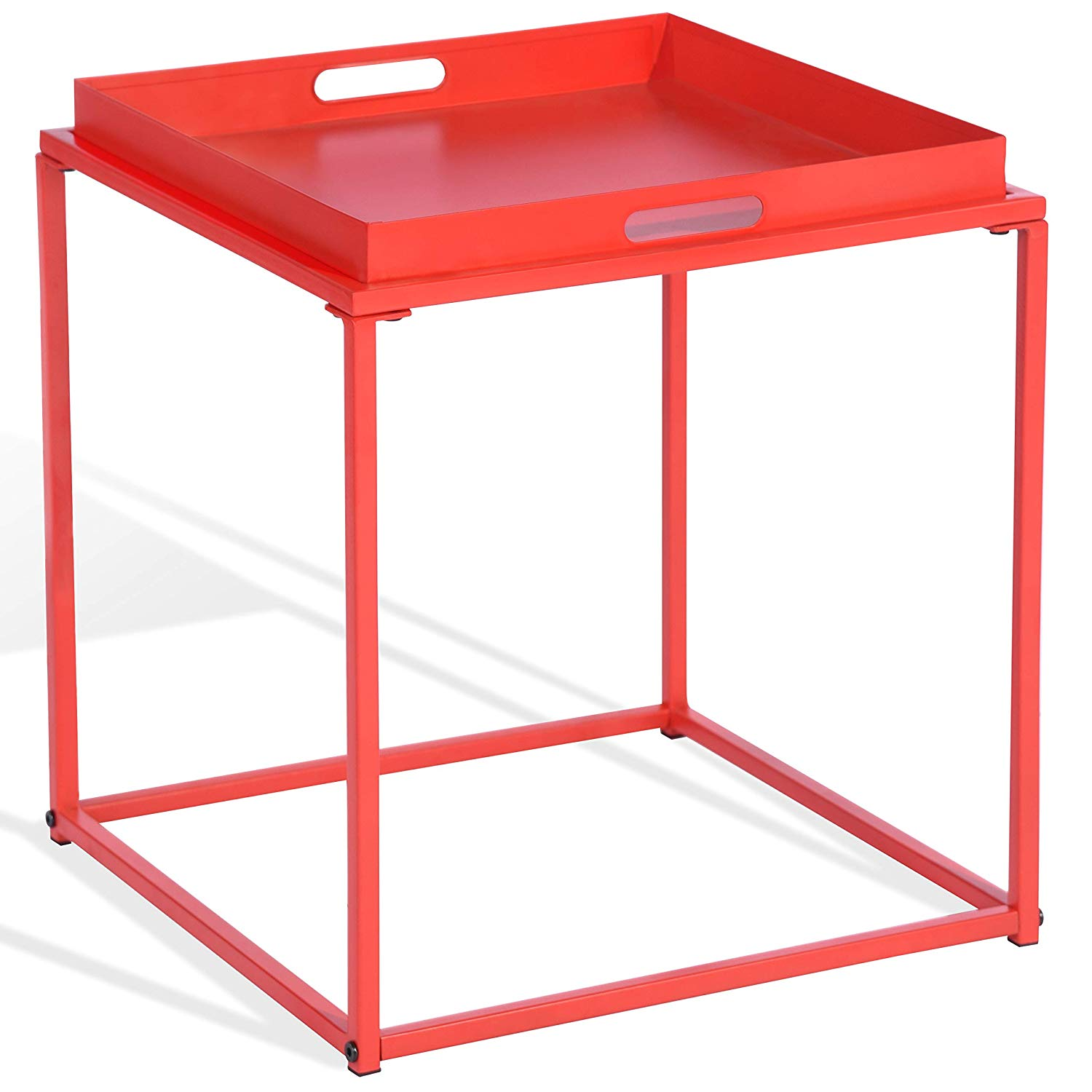 CAP LIVING 15.7 Inch Square Metal Tray End Table, Side Table, Colors  Available In Matte Red And Matte Black