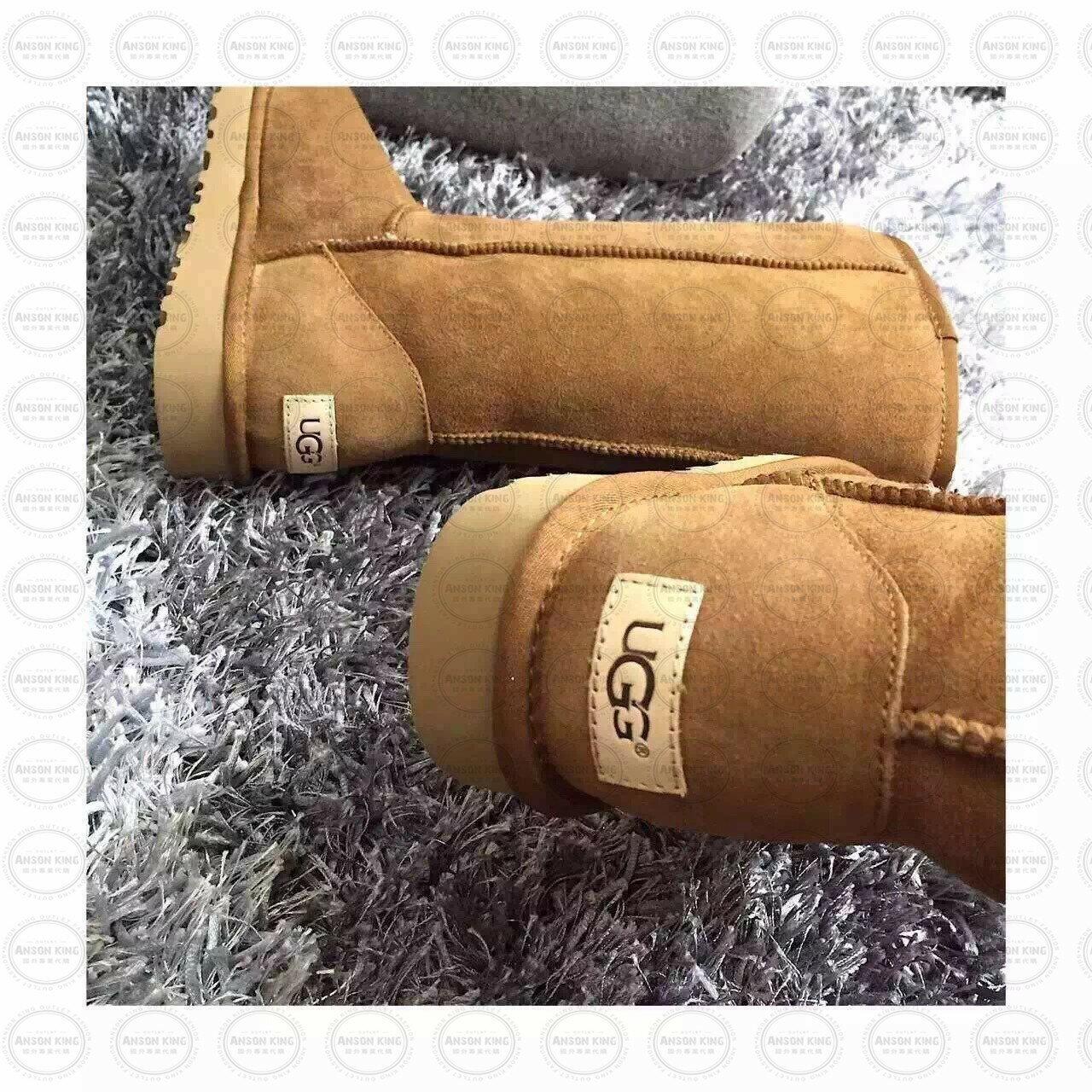 OUTLET正品代購 澳洲 UGG 經典女款羊皮毛一體雪靴 中長靴 保暖 真皮羊皮毛 雪靴 短靴 棕色 1