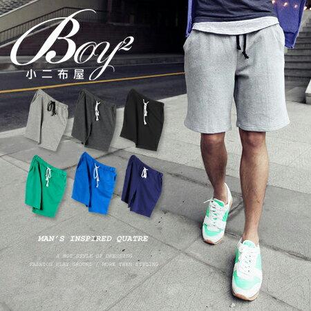 ☆BOY-2☆【NQ91005】棉褲  素面簡約抽繩短褲 0