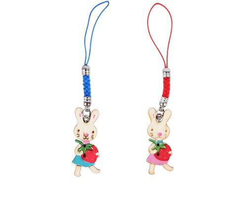 亞特米:草莓兔女孩木頭吊飾防塵塞-手機吊飾鑰匙圈吊飾鄉村風