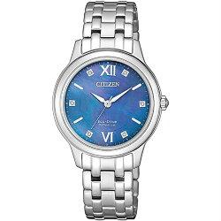 CITIZEN星辰 EM0720-85N 時尚鈦金屬光功能炫麗腕錶 / 深藍面 30mm
