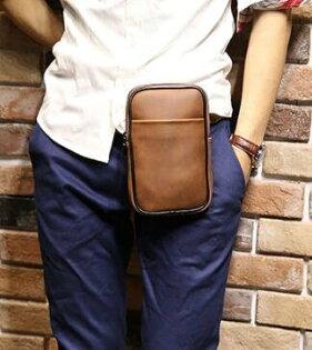 FINDSENSEZ1韓國時尚潮男休閒手機包迷你小腰包皮質質感超好